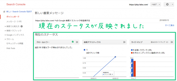 Google Search Consoleのダッシュボード画面でデータ確認